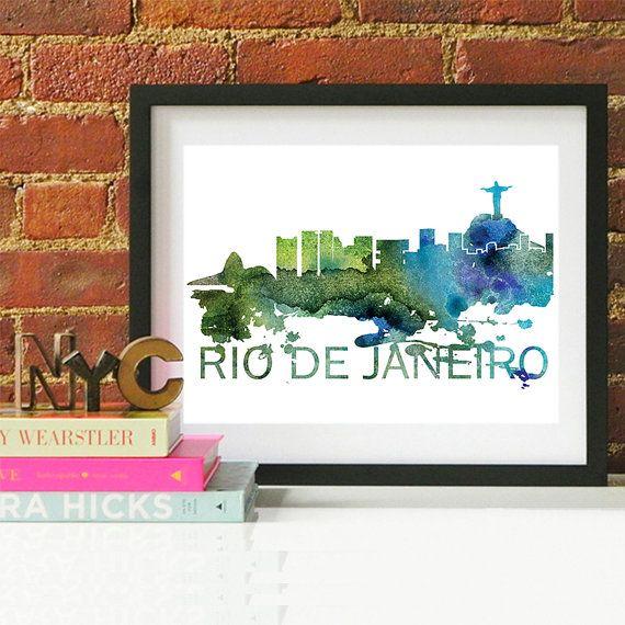 Rio de Janeiro Watercolor Skyline, Rio de Janeiro Skyline, Rio de ...