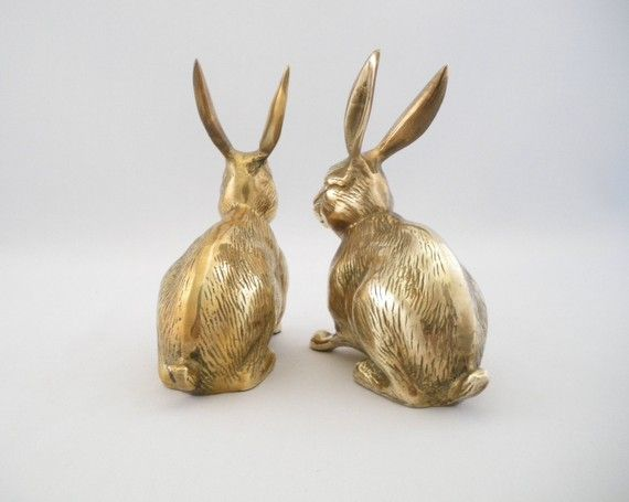 Vintage Large Brass Rabbit Duo Brass AnimalsAnimaux En