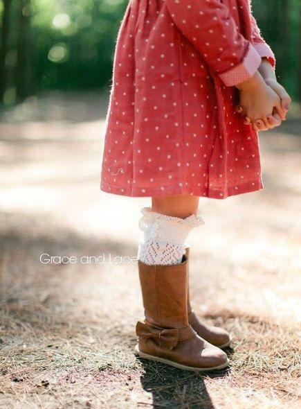 Lil Dainties  ivory lacey openknit girls boot par GraceandLaceCo, $21.00