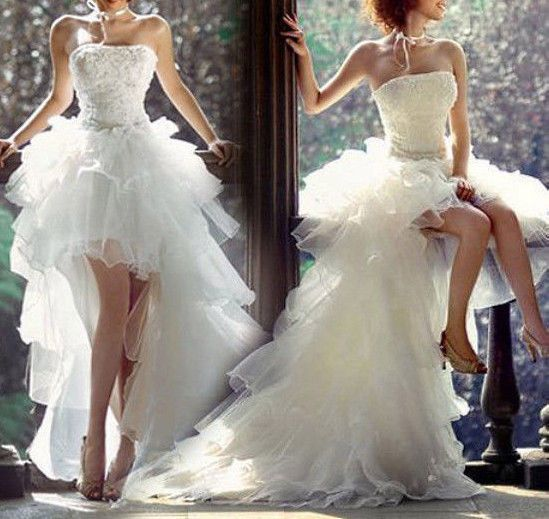 All Sizes Fashionable Short Front With Trail Tail Wedding Dress Bridal Gown Nwt Wedding Dresses High Low Sweetheart Prom Dress Bridal Gowns