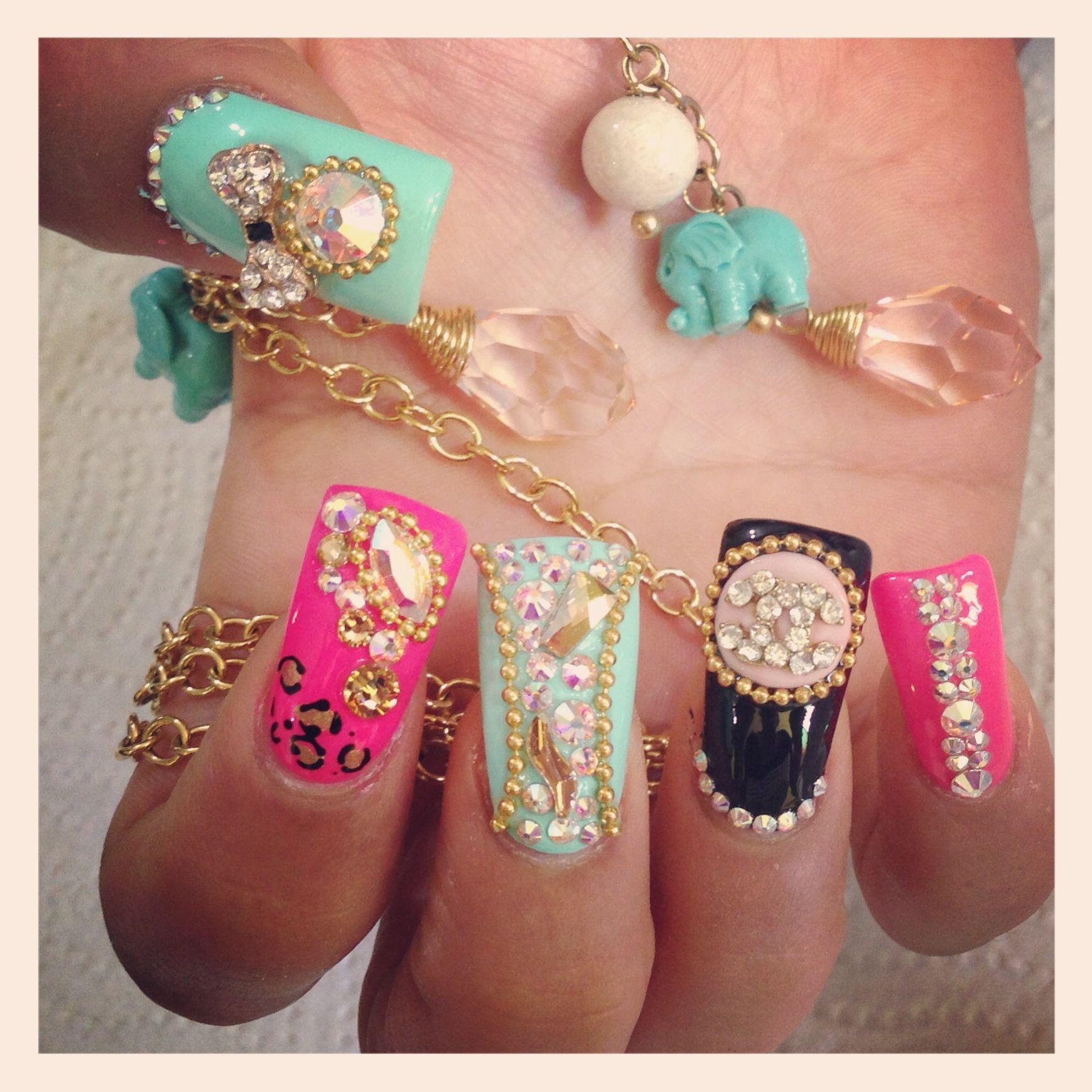 Uñas rosa, menta y negro Liz | Uñas | Pinterest | Menta, Negro y ...