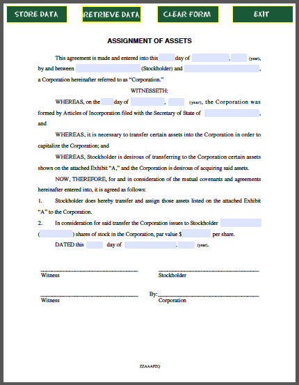 Form For Assignment Of Assets Agreement  Forms