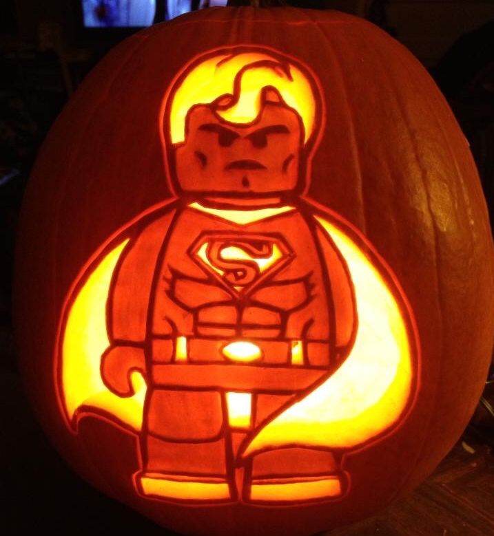 Lego Superman carved on a real pumpkin. Stoneykins pattern