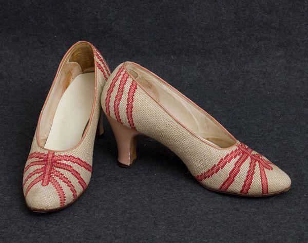 Needlepoint shoes, 1930s