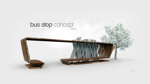 Bus stop by luk zaj c via behance bus stop for Equipamiento urbano arquitectura pdf