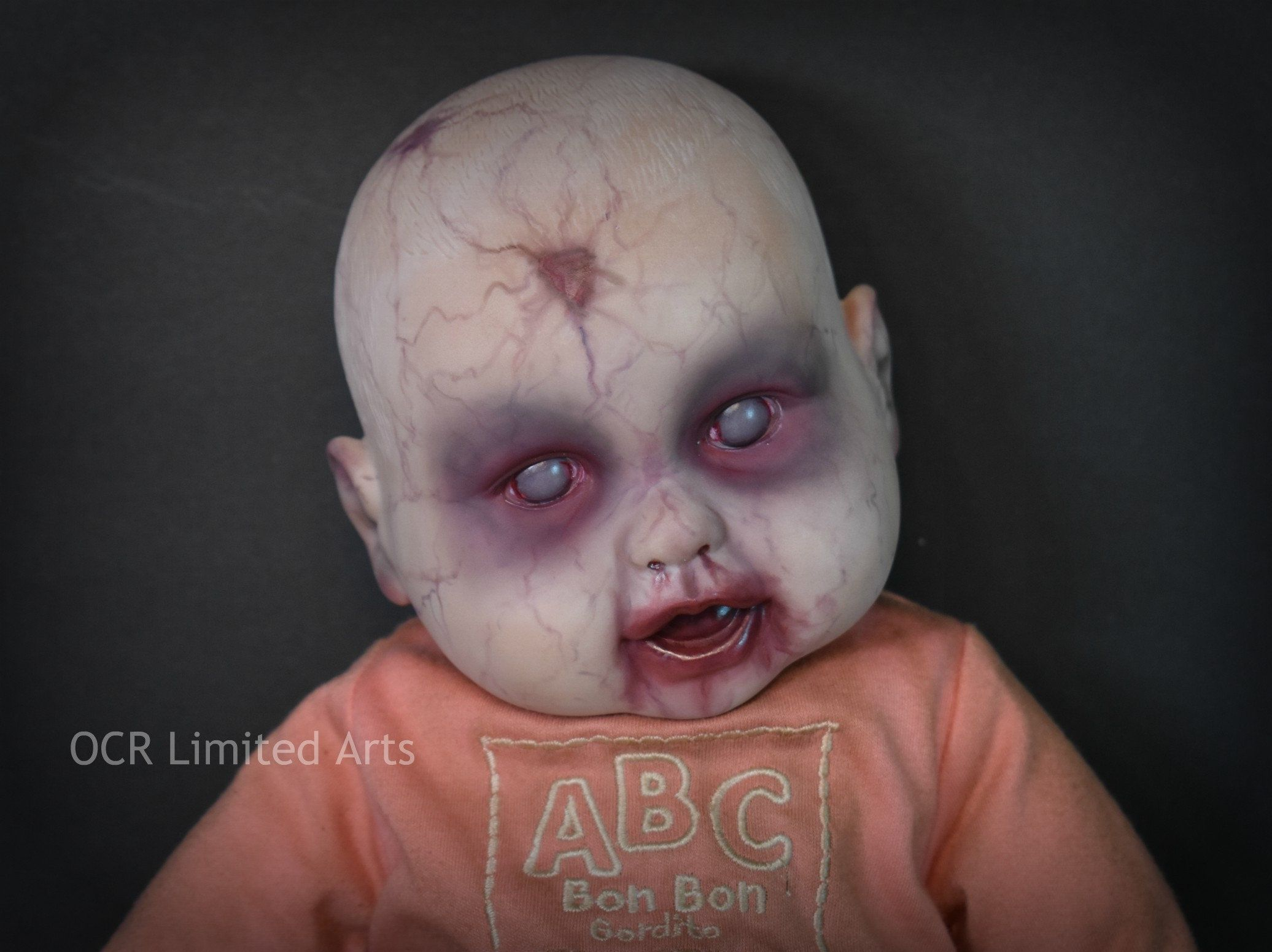 Hand Painted MOLLY 17 inches Vinyl Cloth Baby Doll ooak creepy cute