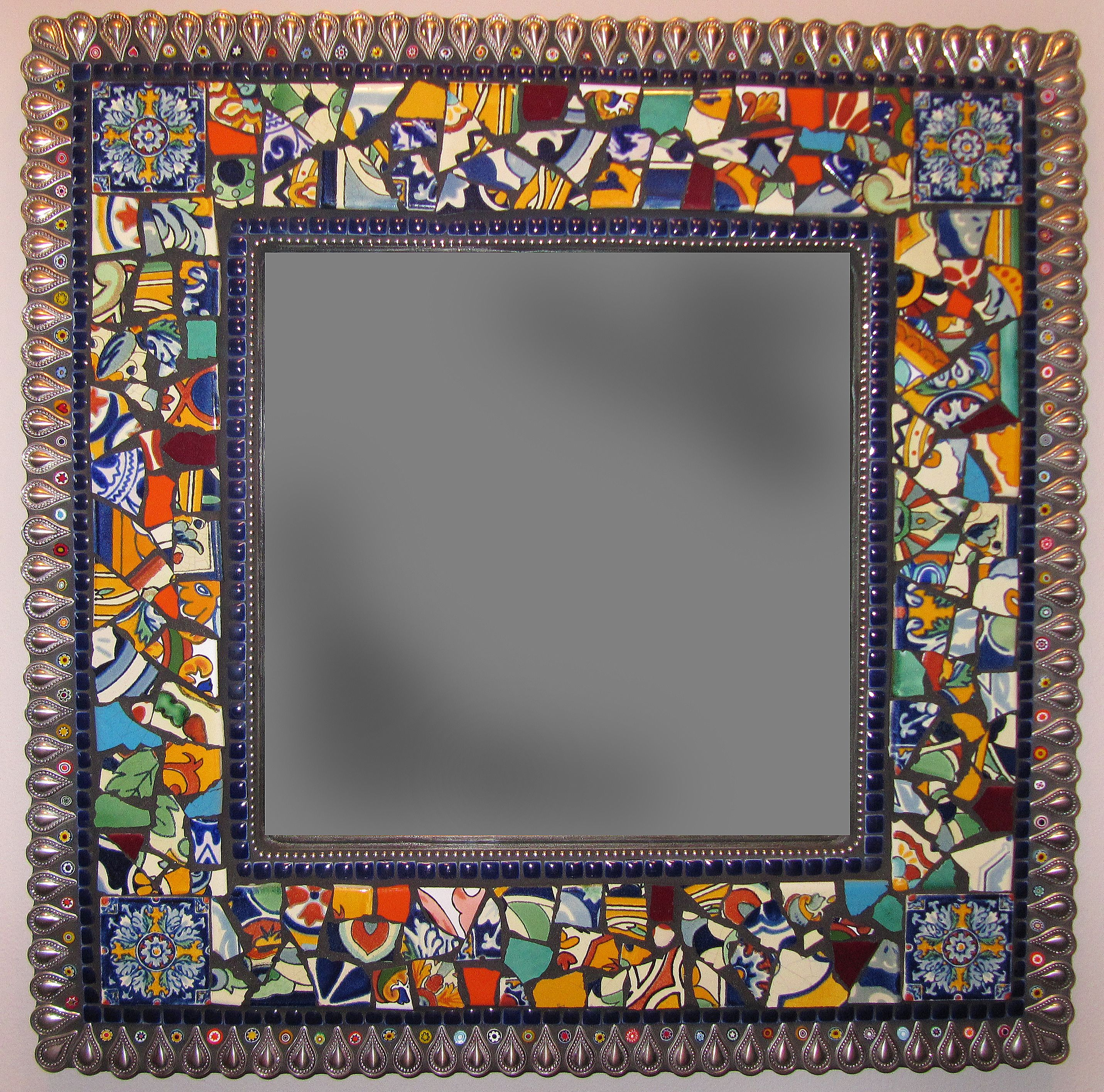 Mexican tile mosaic mirror by emily hickman made with broken terra mexican tile mosaic mirror by emily hickman made with broken terra nova ceramic tile dailygadgetfo Images