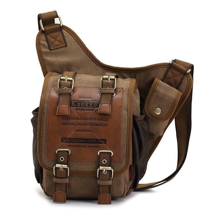 Men s Boys Canvas Leather Shoulder Military Messenger Sling School Bags  3021   eBay 3af300fdb5