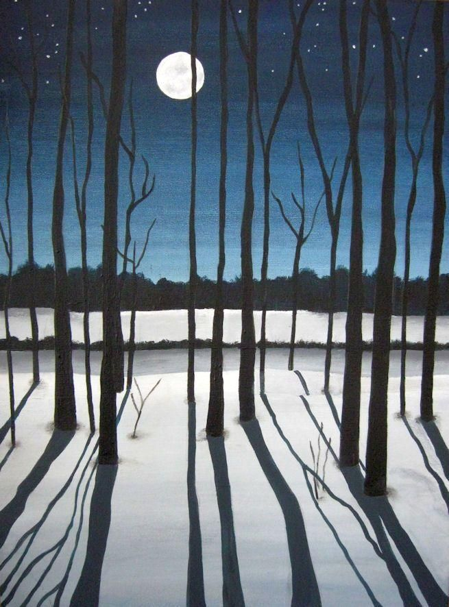 Moonlit : Moon and Shadows In this post, I am featuring the work of artist Robbyn Moore. This is a beautiful painting of one of my photos that I had posted on my other blog. I like this painting much better than my own pho… #Moonlit