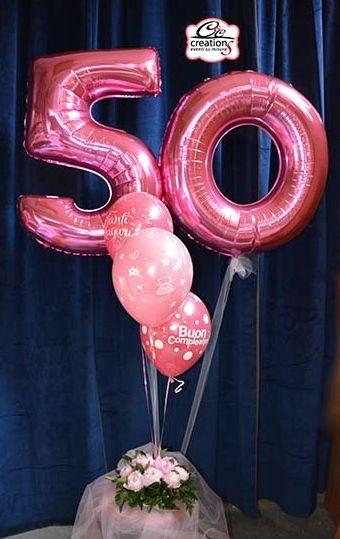 addobbo palloncini e peonie per compleanno 50 anni realizzato da