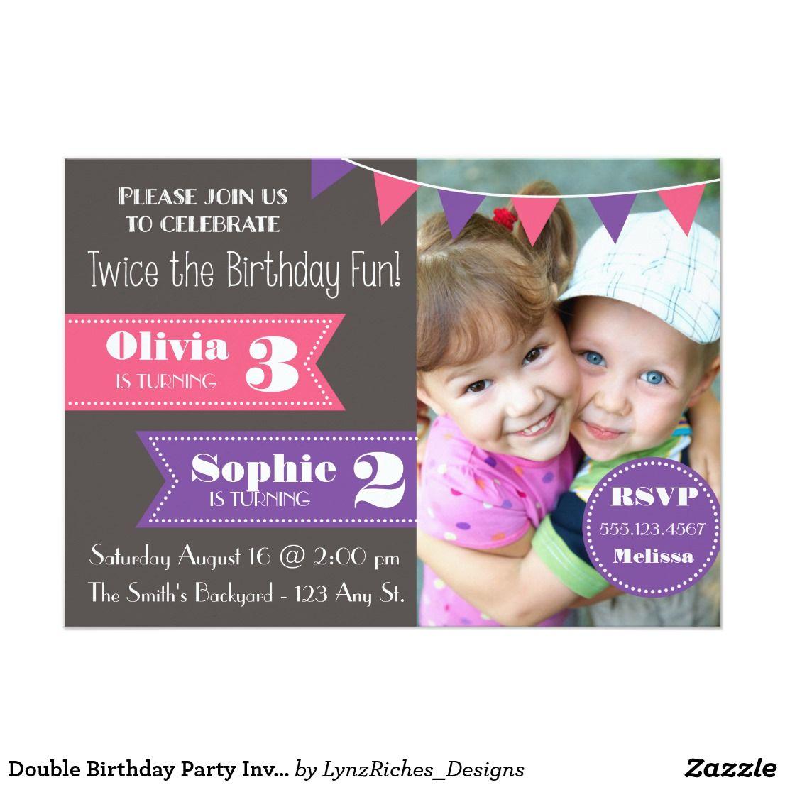 double birthday party invite girl girl