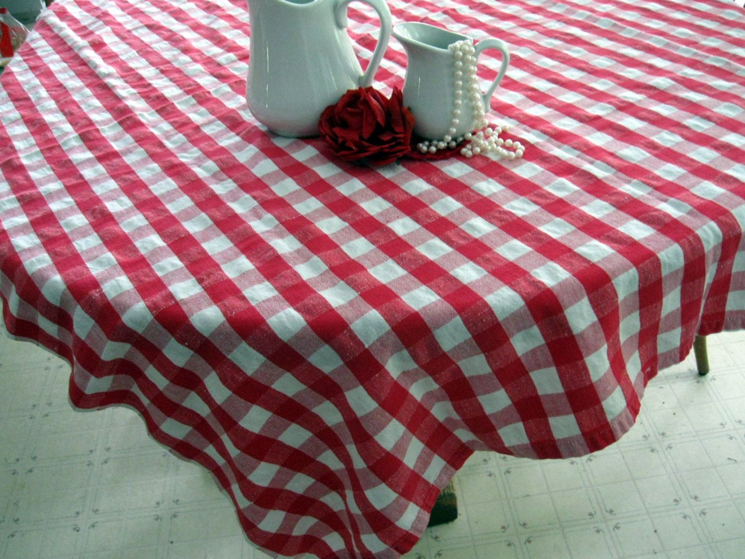 Tablecloth Checkered Tablecloth Red and White Plaid