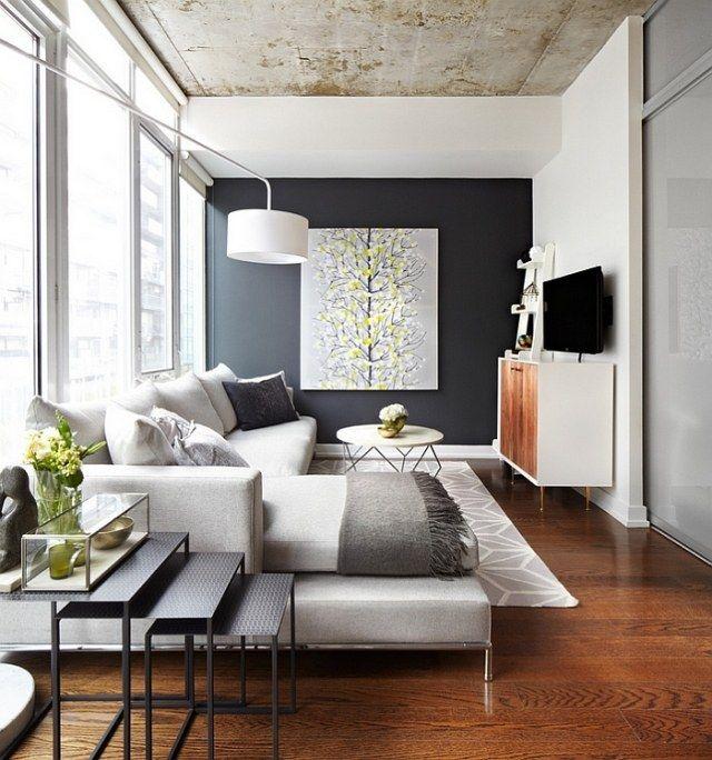 wohnzimmer akzentwand schwarz hellgraues ecksofa Living  Interior