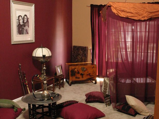 Attractive Modern Moroccan Living Room With Classic Lighting: Wonderful Moroccan Living  Room Maroon Red Curtain Arts