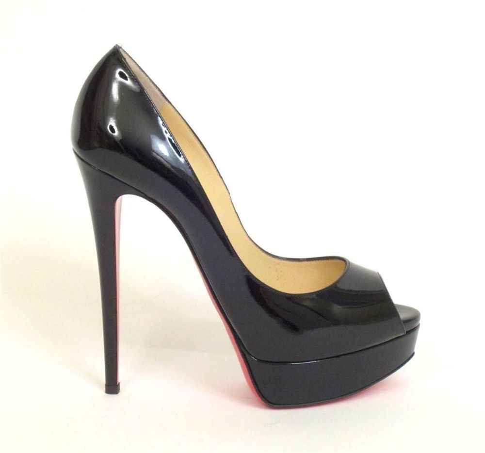 CHRISTIAN LOUBOUTIN BLACK PATENT LEATHER 150 LADY PEEP PUMPS SZ.38.5-NEW #ChristianLouboutin #PumpsClassics
