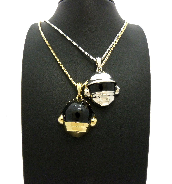 New helmet double pendant u box chains hip hop necklaces set