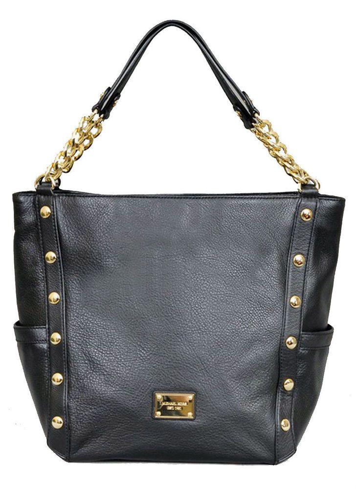 3e1aae2f3440 NWT $498 Michael Kors Delancy Large Tote Black Leather Gold Chain Handbag  purse #MichaelKors #TotesShoppers