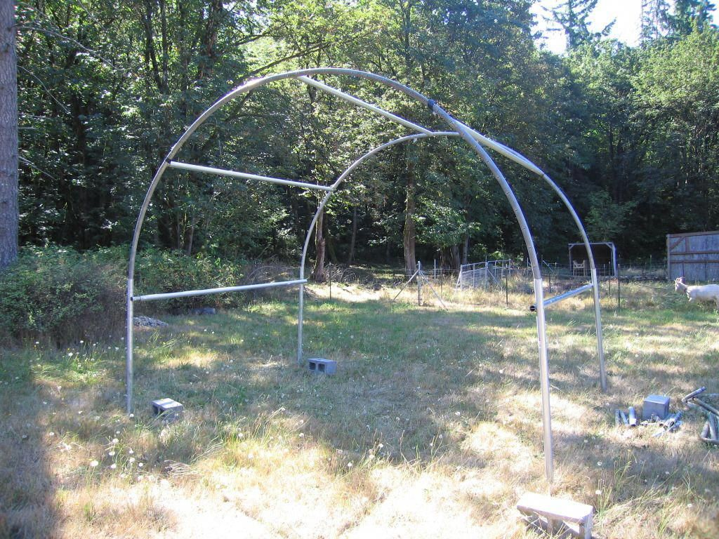 Another trampoline frame greenhouse or shed or coop