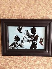 Reverse Painted Silhouette Picture on Glass: Children and Birds