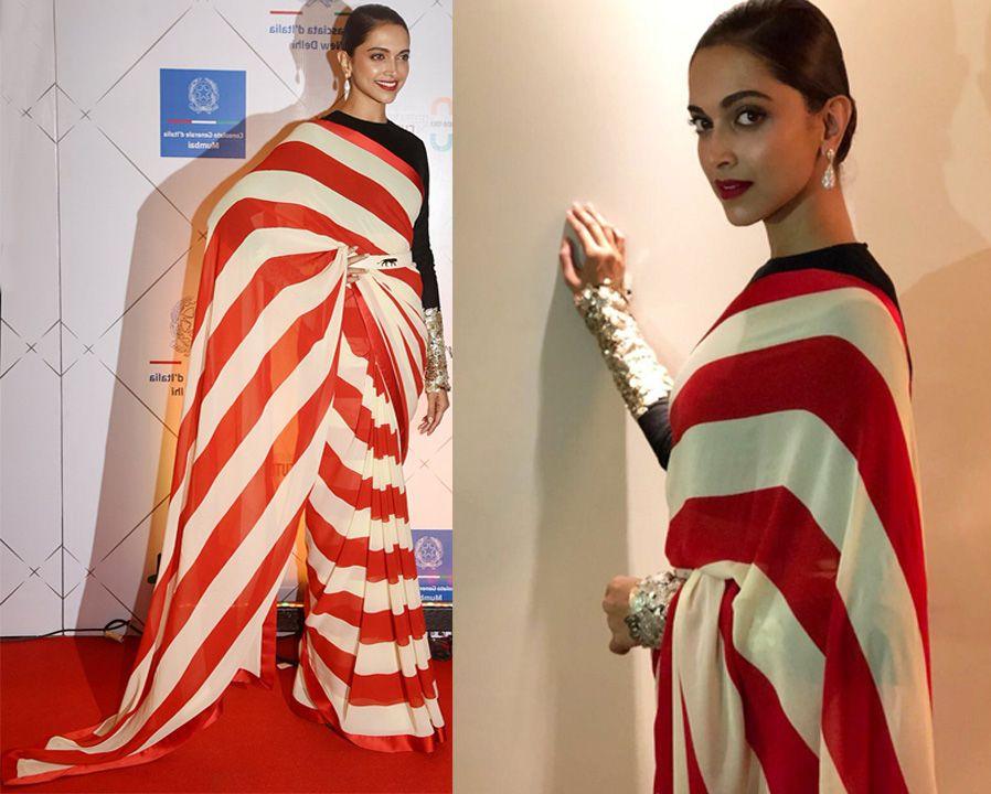 Deepika Padukone looking so beautiful in Stripe Saree 2018 ...