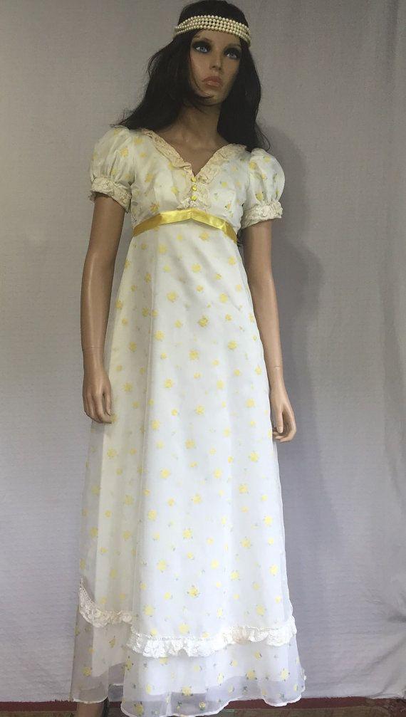 Vintage 70\'s Boho Prom Dress -1970\'s Yellow Floral Dress - Retro ...