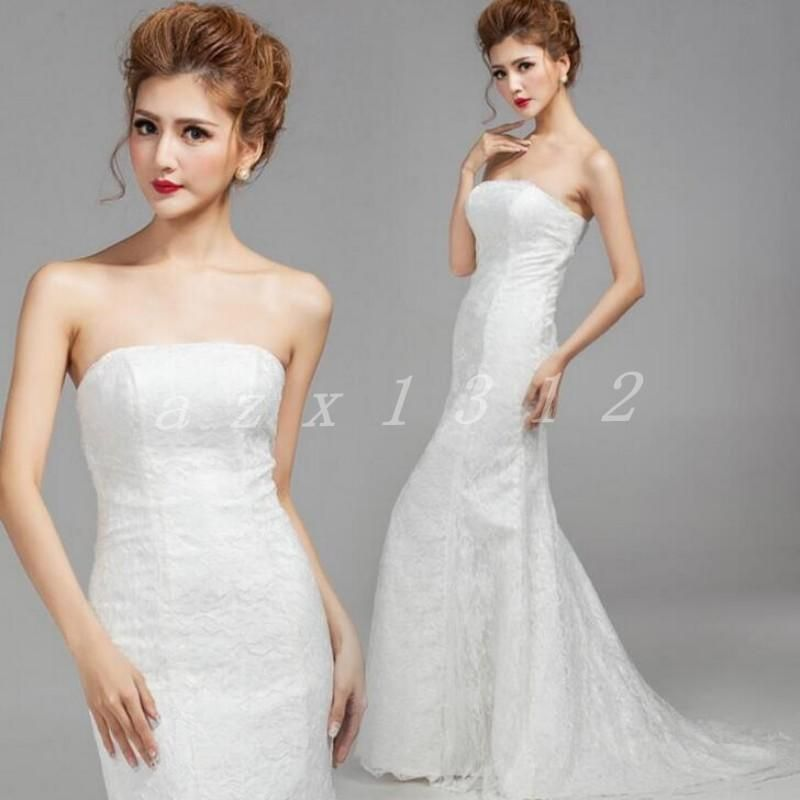 Chic Womens Lace Bra Wedding Bridal Dress Slim Fishtail Trailing ...