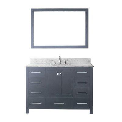 "Virtu Caroline Avenue 49"" Single Bathroom Vanity Set with Mirror Base Finish:"
