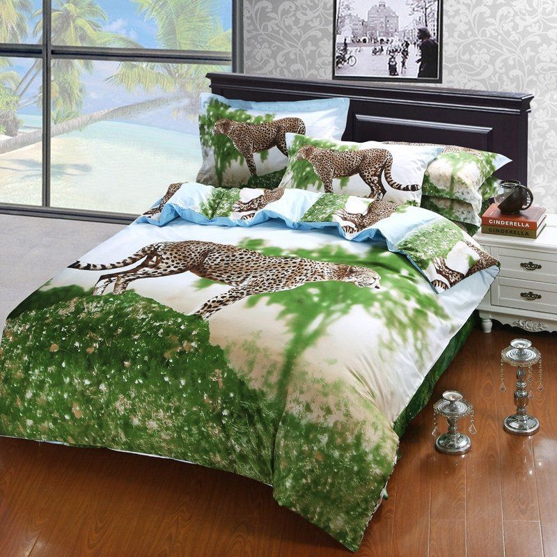 Lime Green Brown Blue and Off-white Jungle Safari Themed Forest