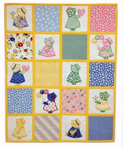 Sun Bonnet Sue Baby Quilt #sunbonnetsue