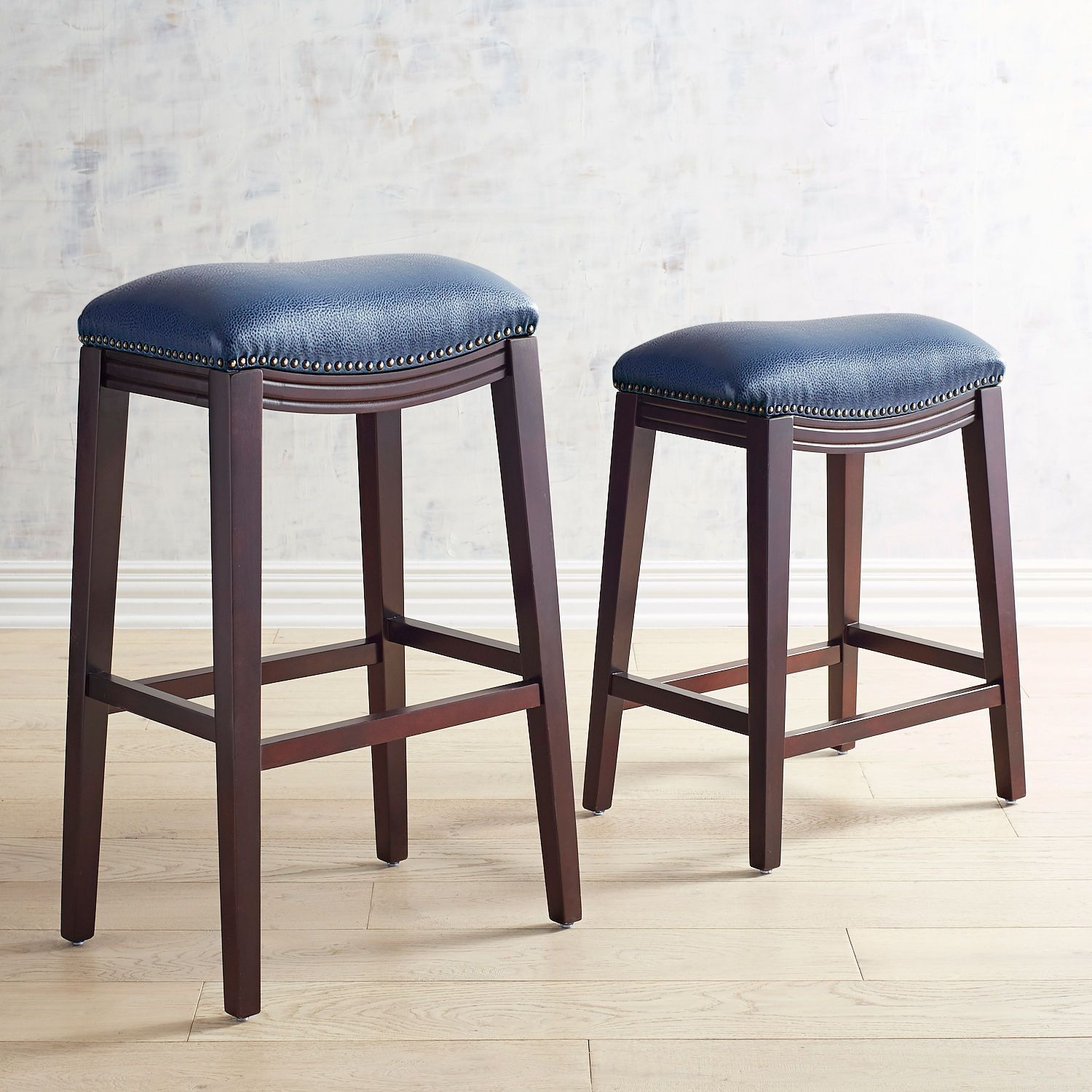 Halsted Navy Blue Counter Bar Stool With Espresso Legs Pier 1 Imports Bar Stools Blue Bar Stools Backless Bar Stools
