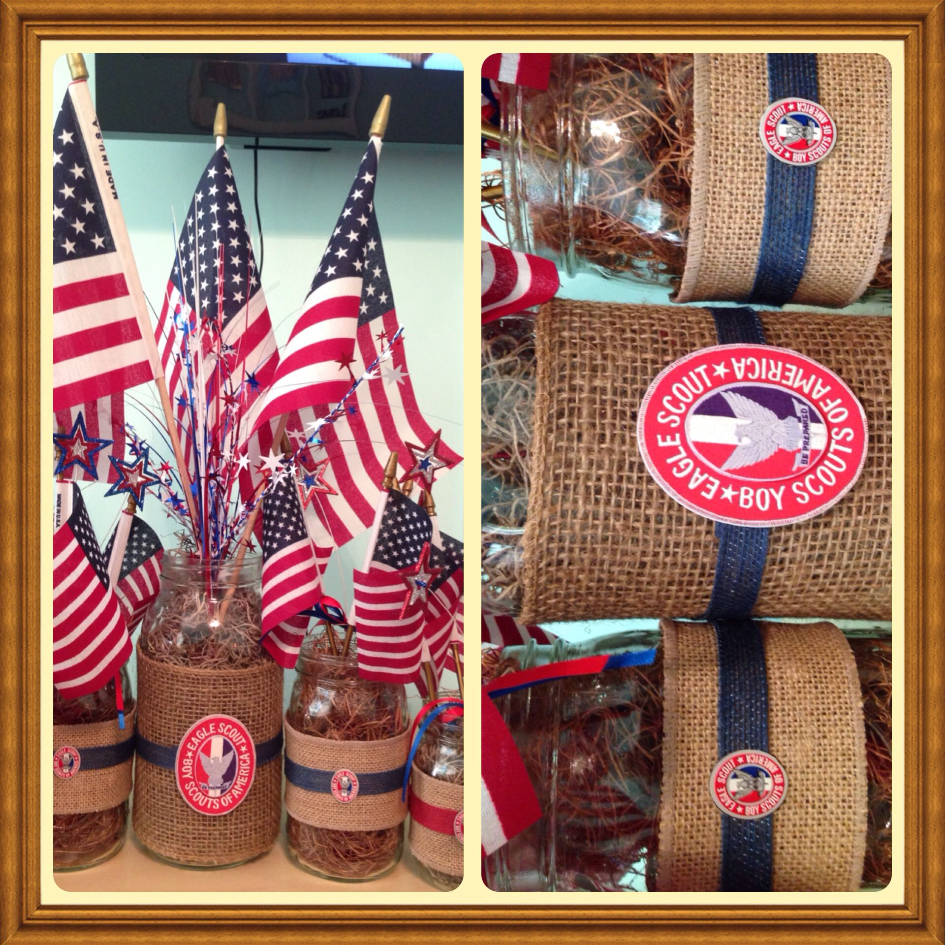 Patriotic burlap mason jars eagle court of honor centerpieces jars
