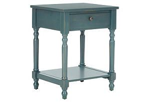 Molly Night Table, Distressed Teal
