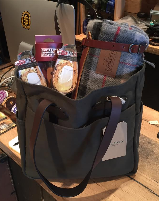 Old Souls in Cold Spring, NY- Filson bag with Pendleton blanket, wine glasses and cork screw
