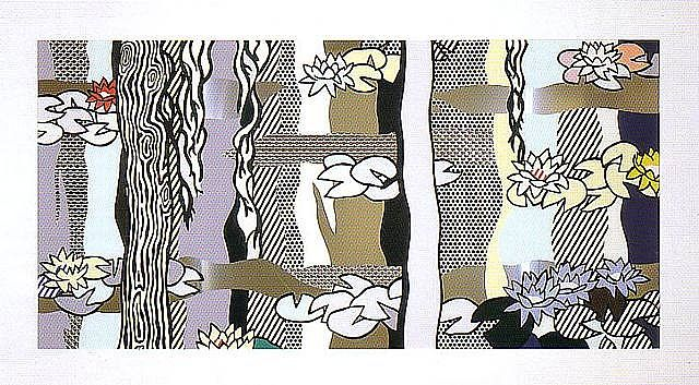 Roy Lichtenstein, Water Lilies with Willows, Contemporary Art, h:58 x w: 104 in, Screenprinted enamel on swirled stainless steel, 1992