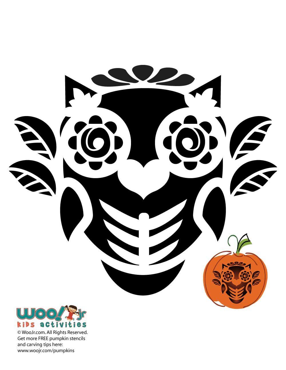Dia De Los Muertos Owl Stencil For Pumpkins