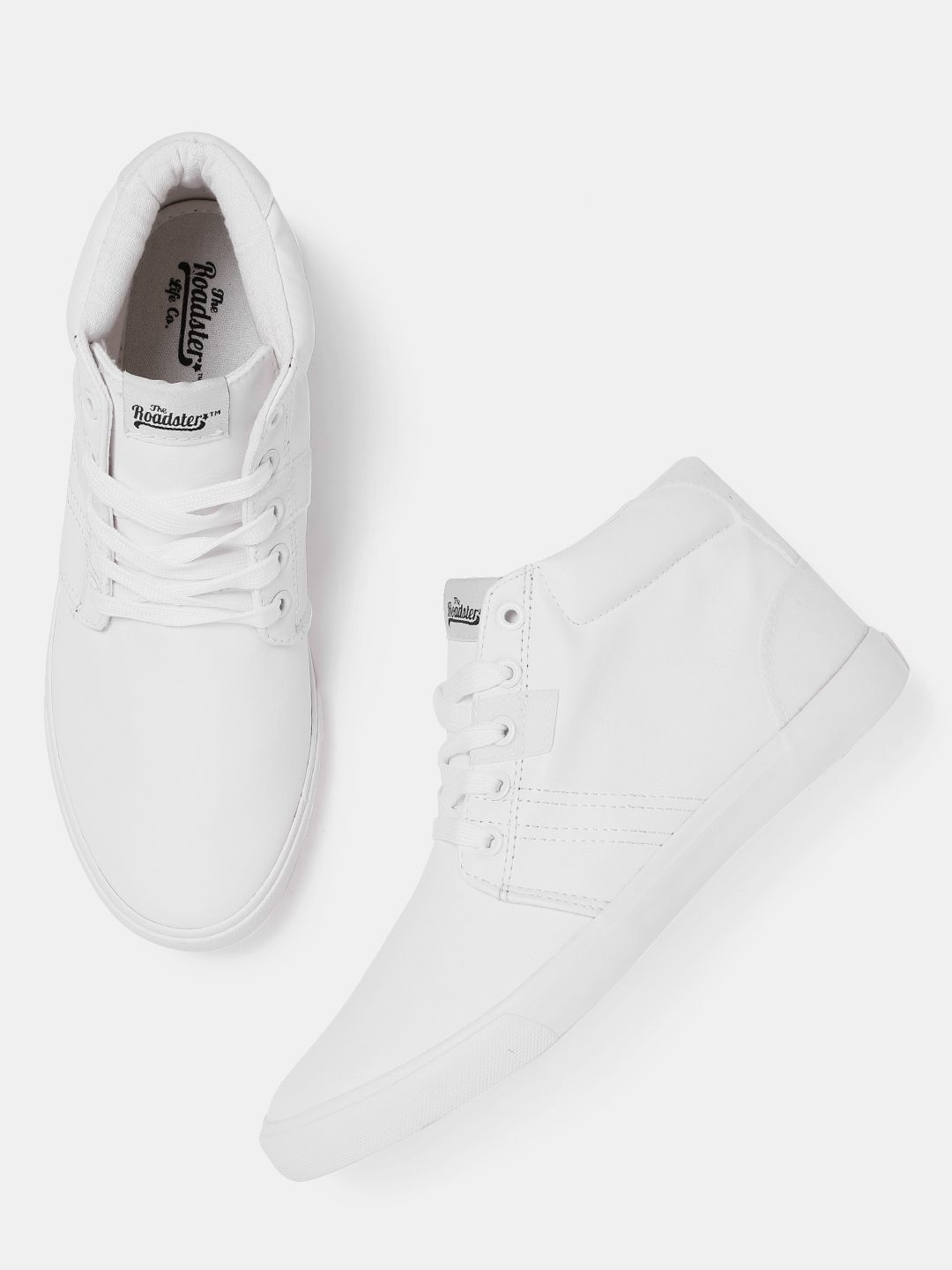 Buy Roadster Men White Solid Leather