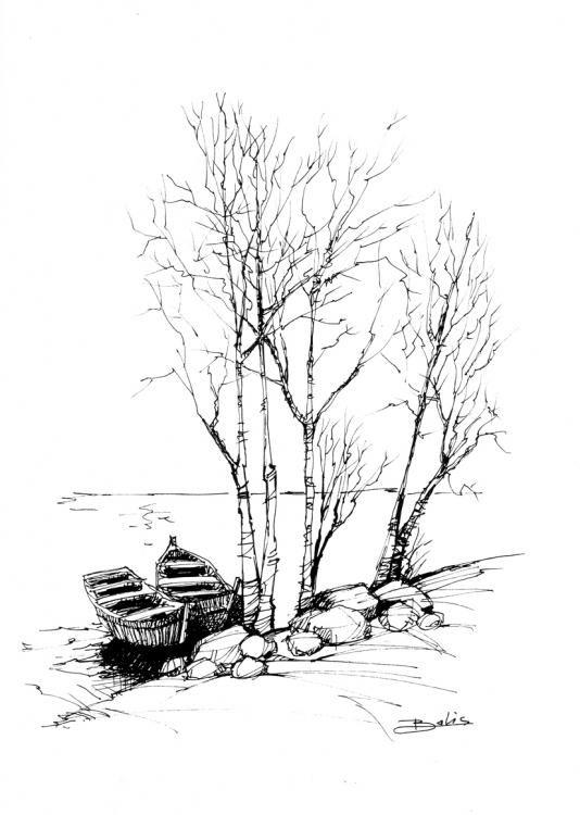 graphite original dessin arbre dessin arbre par