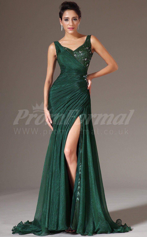 Straps trumpetmermaid prom dresseslong chiffon lace dark green