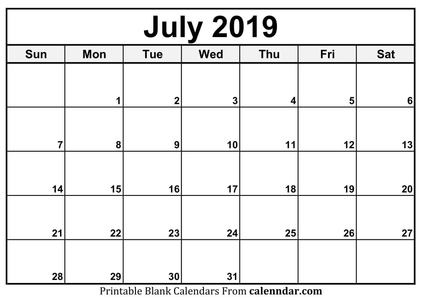July 2019 Calendar Calendar Printables Printable Calendar