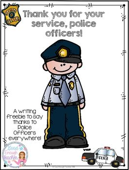 Thank You Police A Writing Freebie Preschool Planning Police Transportation Unit