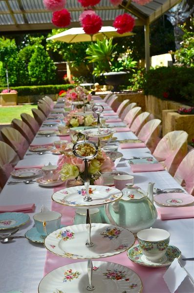 Lots of lovely high tea table settings high tea for High tea party decorations