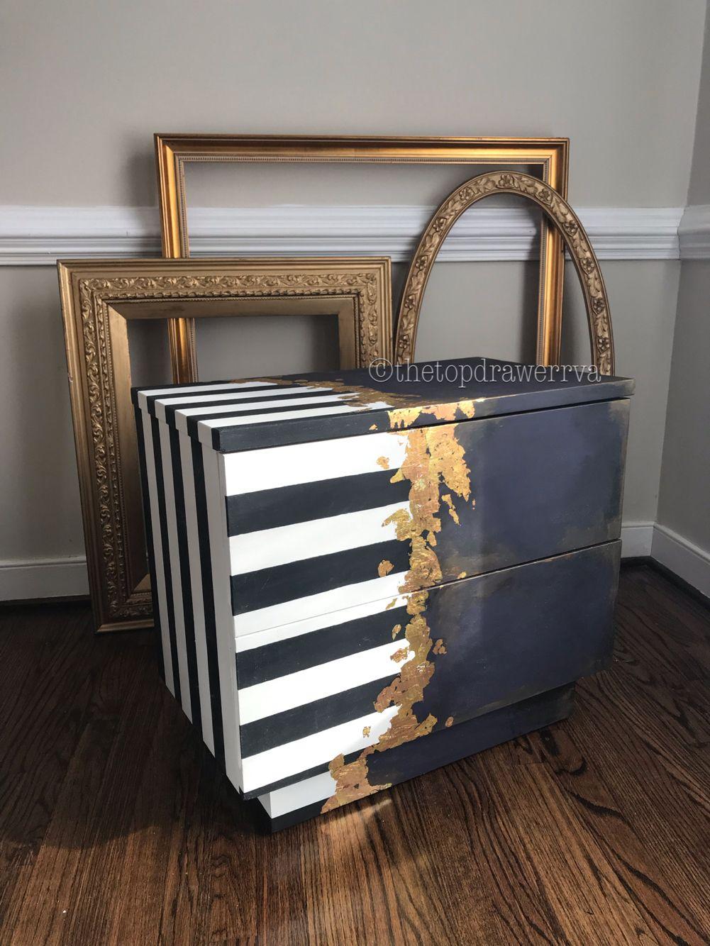Gold Leaf Metallic Leaf Funky Furniture Black And White Stripes