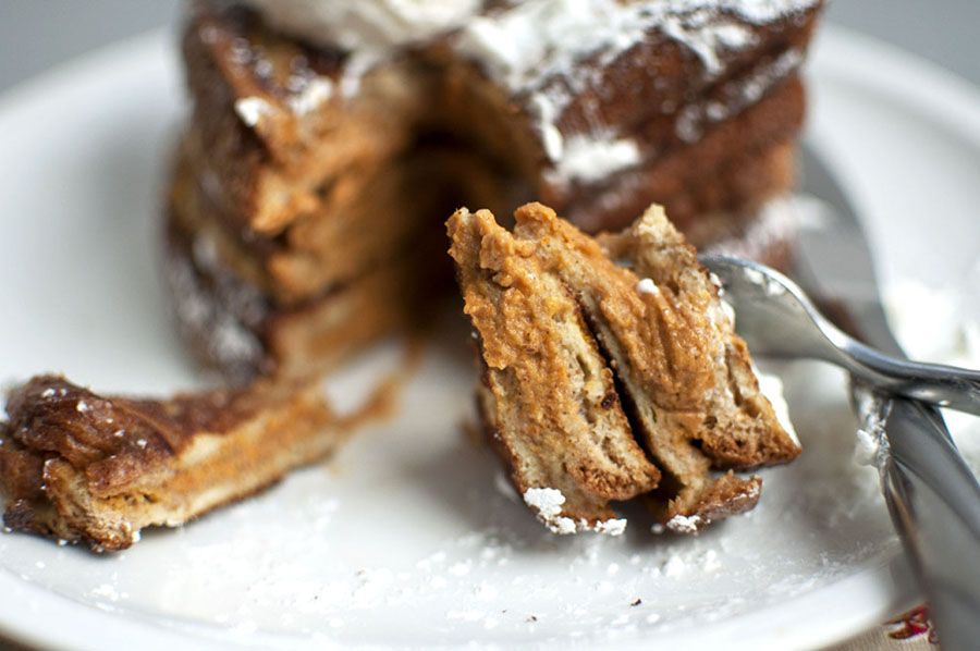 Pumpkin Stuffed French Toast Recipe: http://seenheardknown.com/portfolio/pumpkin-stuffed-french-toast/