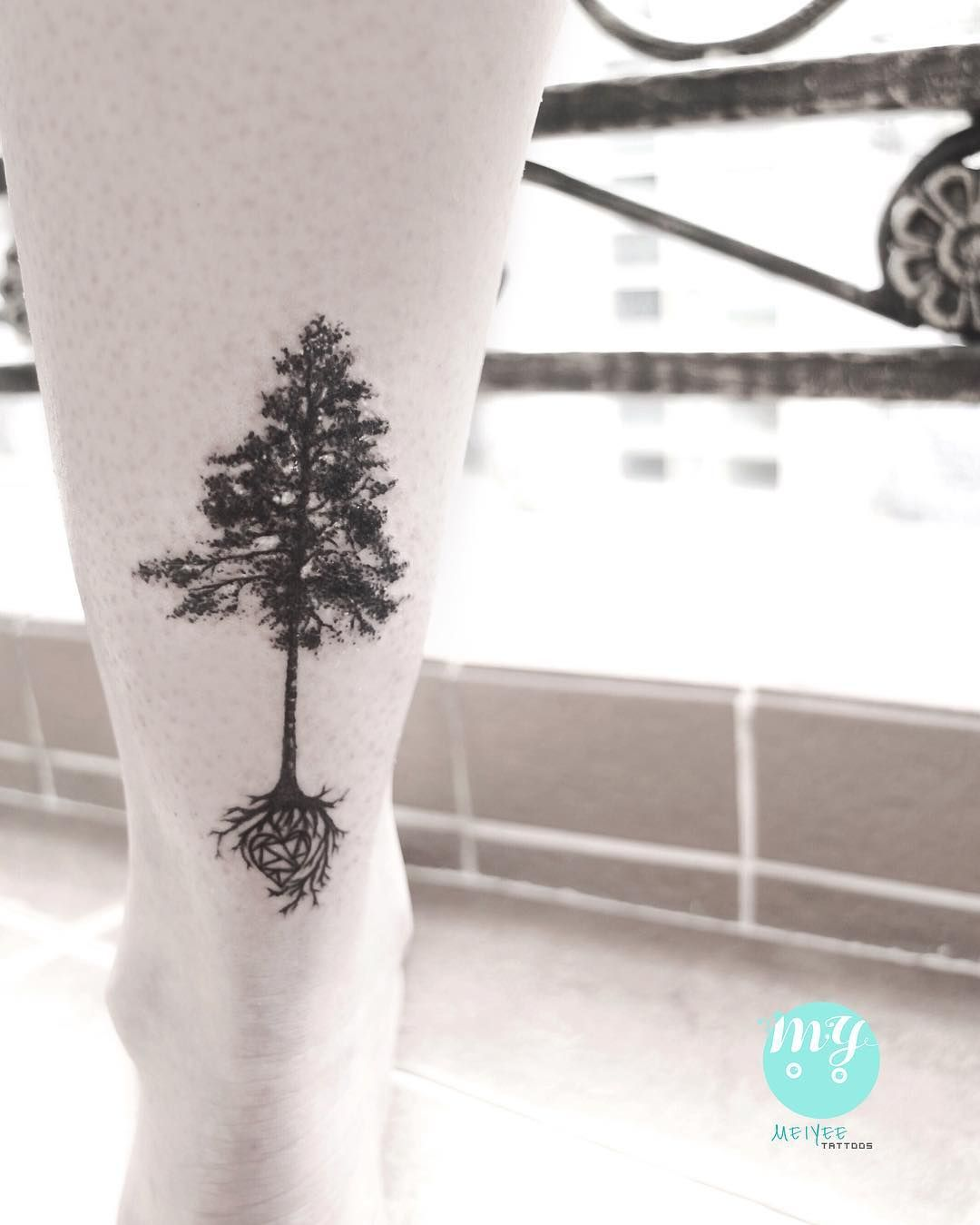 Pine Tree With Heart Roots Tattoo Tree Roots Tattoo Roots Tattoo Tree Heart Tattoo