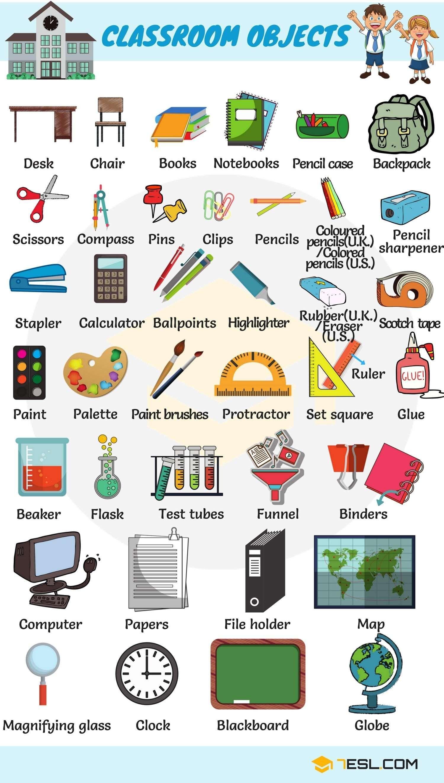 School Vocabulary In English