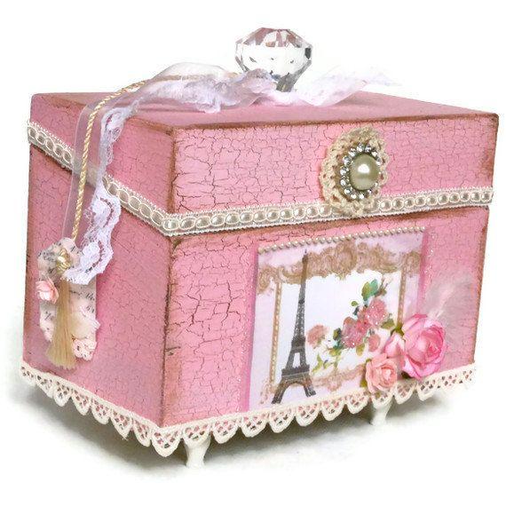 Decorative Recipe Box 2: Decorative Recipe Box Shabby Chic Wedding Card By