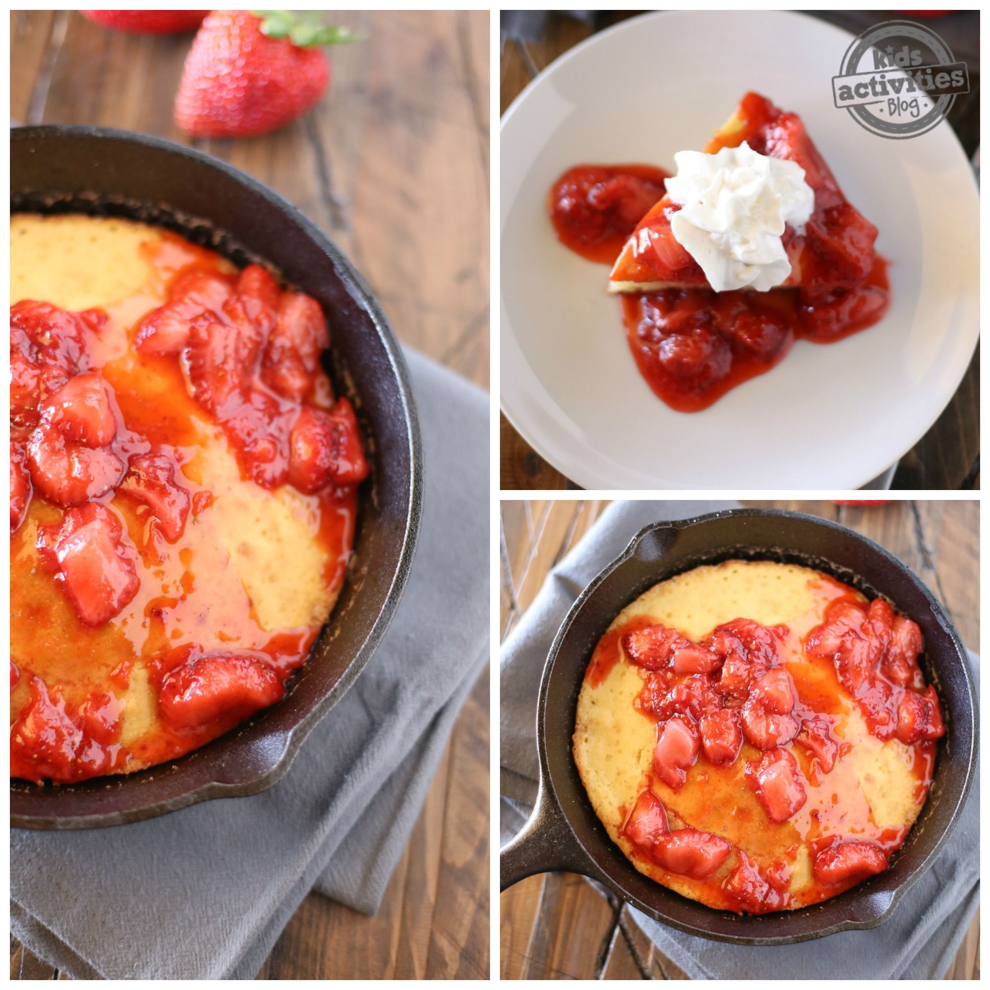 Delicious Skillet Pancake With Strawberry Syrup In
