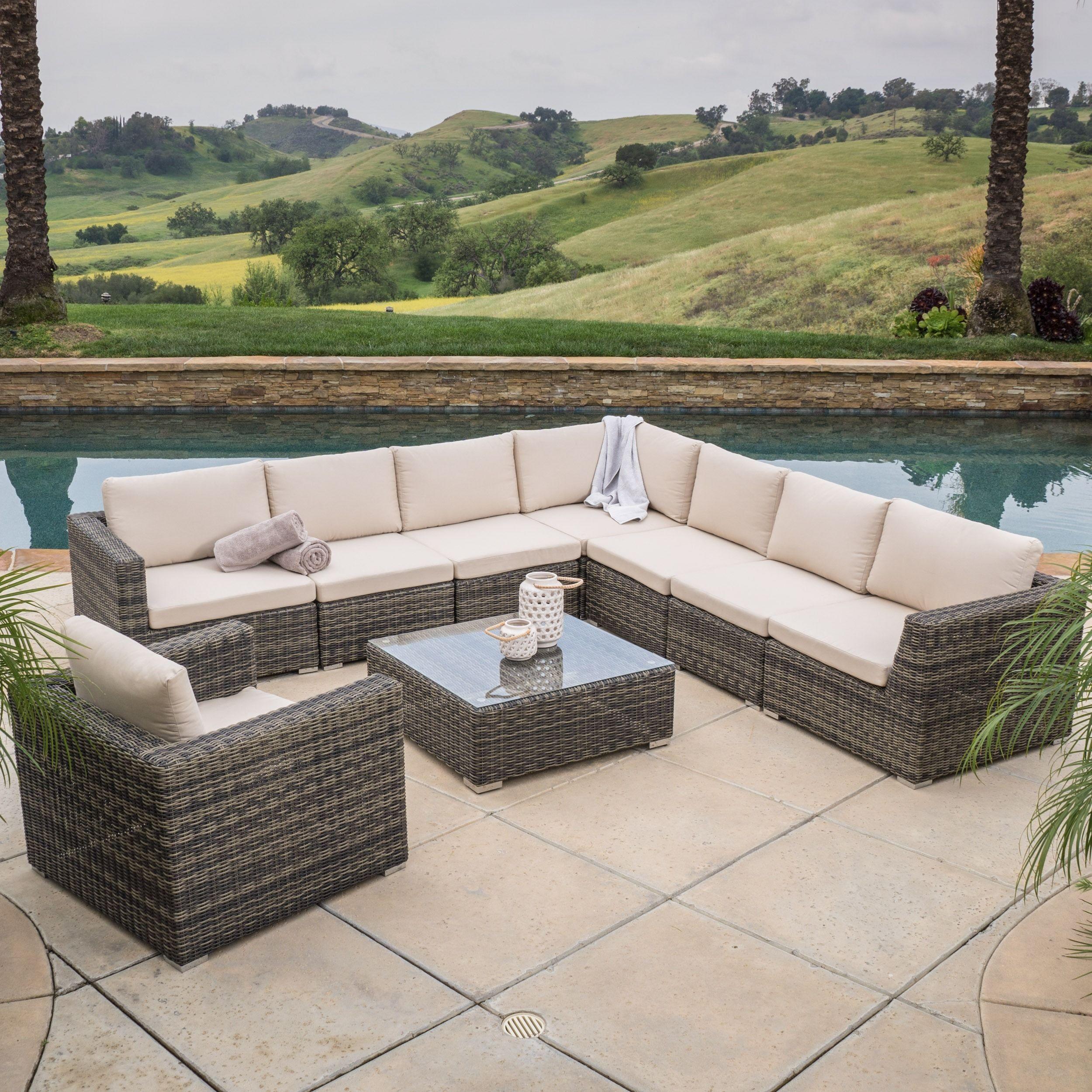 The Santa Rosa 9 Piece Outdoor Sofa Sectional Set Allows You To