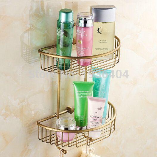 Bathroom Storage Holder Copper High Quality Retro Basket Double
