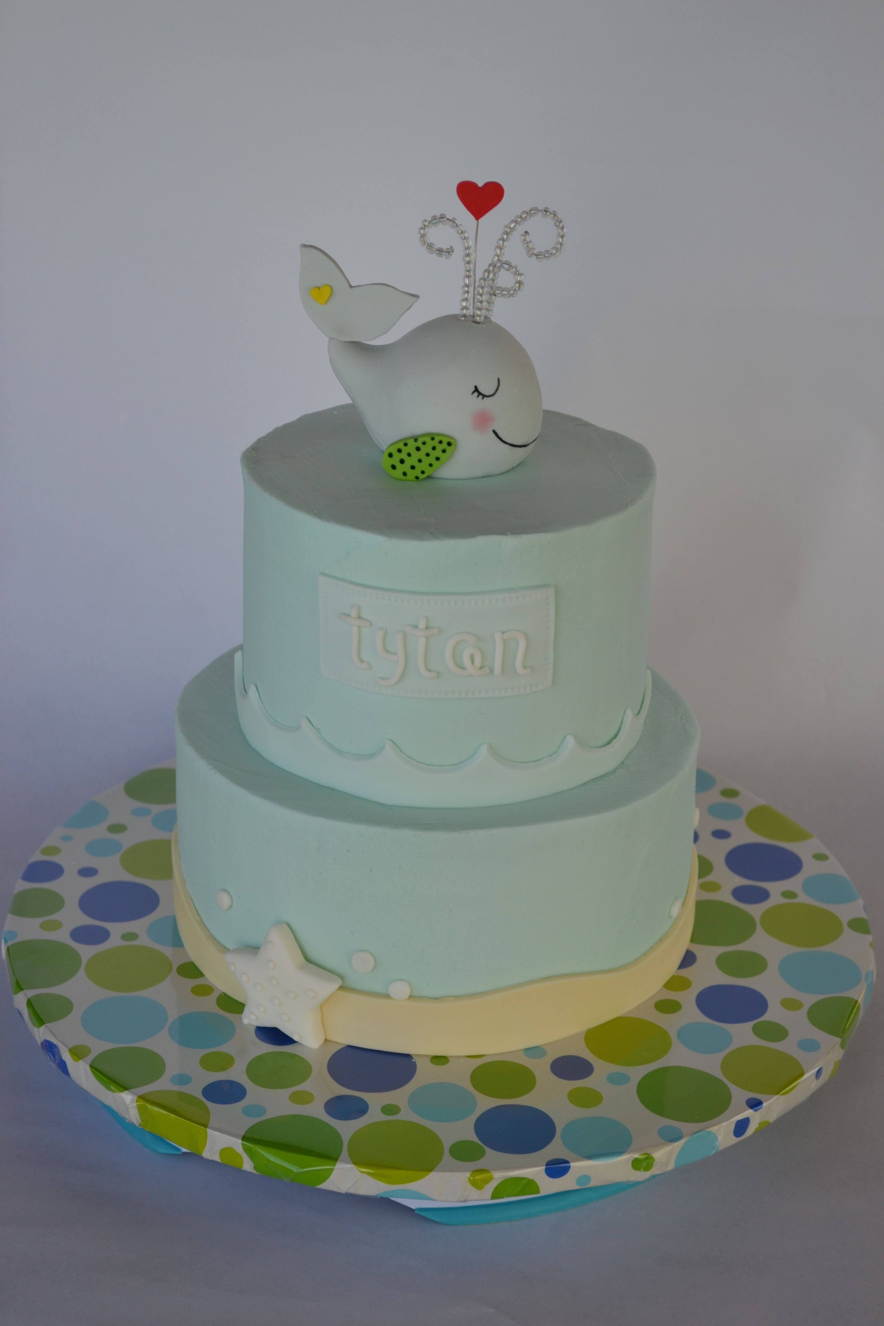 Whale Baby shower cake BC cake with fondant accents and handmade